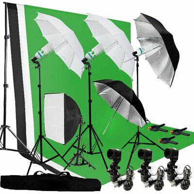 Photography Umbrella Lighting Kit Studio Bulb Muslin Backdrop Support Stand MA
