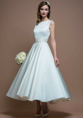 Formal Bridal Tea Length Satin Wedding Gown Party Prom Dress Size 6-18