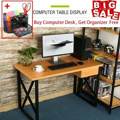 Steel Computer Desk PC Laptop Table Wooden Workstation Student Study Home Office
