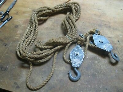 Vintage Block and Tackle Pulley Steel includes Rope - LaneBro Mfg Co.