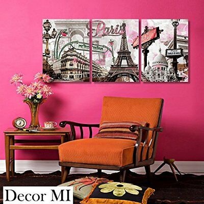 Modern Wall Art Pink Paris Poster Prints On Canvas Picture Wall Decor Home 3...