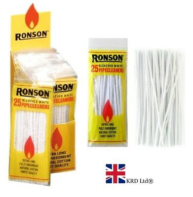 RONSON 150 mm PIPE CLEANERS Craft Art White Chenille Sticks Stems New 25 PACK UK