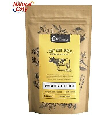 NUTRA ORGANICS - ORG GRASS FED BEEF BONE BROTH POWDER 100g-TUMERIC - FREE SAMPLE