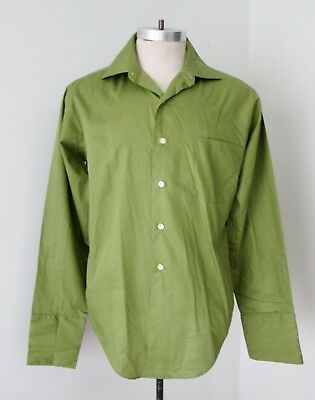 MINTY Vtg 60s Rat Pack Clover Green Poly Cotton Dress Shirt French Cuffs 15.5/34