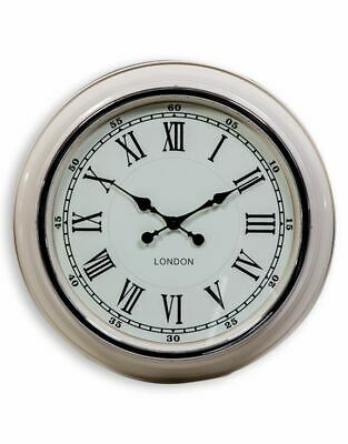 Retro Vintage Style London Large Metal Wall Clock Cream With White Face Et229