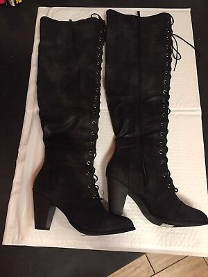 a5a52f7fd0f FOREVER CAMILA LACE Up Knee High Boots - Women's Size 7.5, Black ...