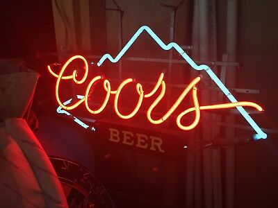 Vintage Coors Beer Electric Neon Sign With Mountains Rare