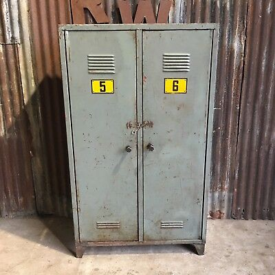 Double Green Industrial Vintage Lockers, Upcycled  Funky Retro Wardrobe Cupboard