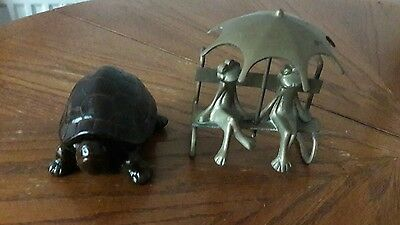 Rare Tortoise VINTAGE JOB LOT COLLECTION OF mixed BRASS & other  2 PIECES