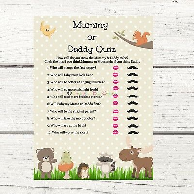 Exciting Baby Shower Game 10//20 Sheets Players CUTE! What/'s in Mummy/'s Purse