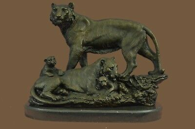 Bronze Sculpture Statue Real Metal on Marble Base Big Cat Male Lion Jungle King
