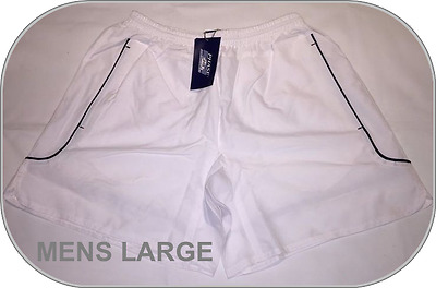 Size LARGE BNWT Mens WHITE Phase One Training Gym Sports Shorts Zip Pockets New