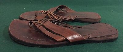 Vintage Women Hand Made Leather Sandals Sz 8