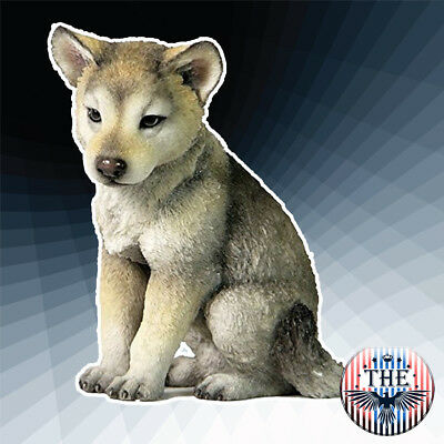 Gray and Cream 4.5 Inch Wolf Cub Sitting Decorative Statue Figurine Great Gift