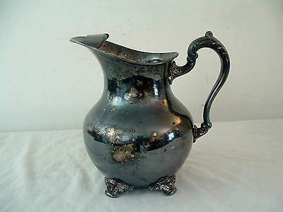 Antique Ornate Silverplate Water Pitcher Poole Silver Co Taunton Mass EPC 5008