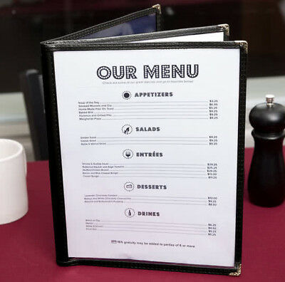 "50 PACK 8 1/2"" x 11"" Black Vinyl Three Pocket Clear Restaurant Menu Cover Case"