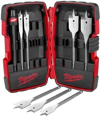 Milwaukee Flat Wood Boring Drill 8 Pieces Bit Kit Hole Assorted Pack Power Tool