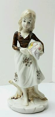 Vintage Hand Painted Woman Porcelain Figurine holding basket in Style of Lladdro