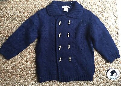 Sarah Louise new with tags Navy blue Knit reversible Cardigan Sweater. 3 years.