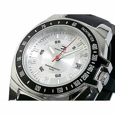 NWT TOMMY HILFIGER Men's Watch Black Silicone & Silver SS Case 1790485 $90