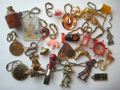 1950's-60's VINTAGE Novelty Plastic Metal KEYCHAIN CHARMS Lot #4