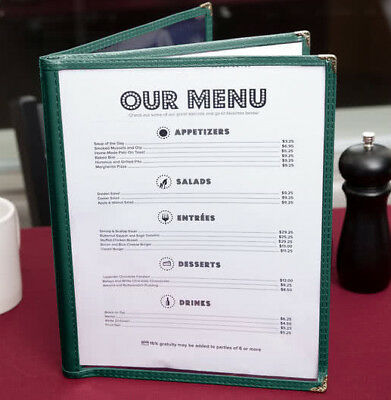 "50 PACK 8 1/2"" x 11"" Green Vinyl Three Pocket Clear Restaurant Menu Covers Case"