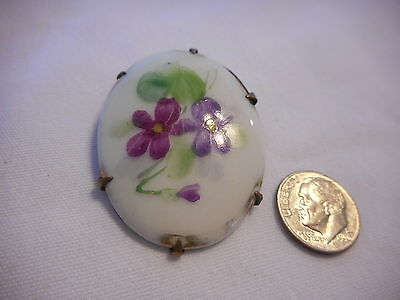 True Vintage Brass Back Oval glass Brooch Hand-Painted Flowers Victorian  Ar