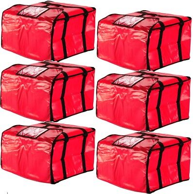 "6 PACK 20"" x 20"" x 12"" Red Vinyl Insulated 16"" & 18"" Pizza Food Delivery Bag"