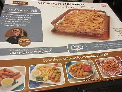 2 Piece Copper Crisper Oven Air Fryer Pan Set By Copper