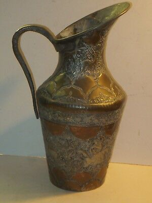 Large Antique Hand Hammered Copper Ewer With Silver Wash And Intricate Designs