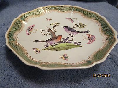 Vintage Asian Octagon Plate with Bird and Butterfly Design Red Mark on Back