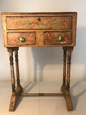 Shabby Chic Accent trestle Table End Side hand painted chippy 3 drawer.