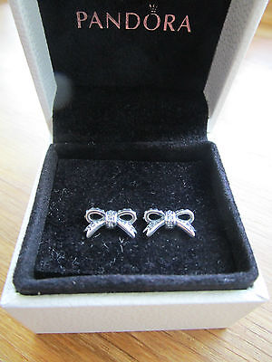 Pandora Delicate Bow Stud Earrings 290555CZ  With Pandora Suede Pouch