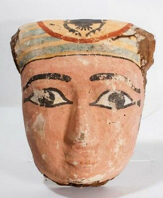Large Ancient Egyptian wood mummy mask.
