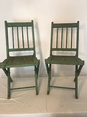Pair Vintage Shabby Chic Wooden Folding Chairs green chippy paint