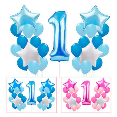 25pcs 1st Birthday Age Number 1 Foil Helium Balloon Set Baby Shower Party Decor
