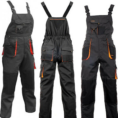 Mens Work Trousers Bib and Brace Overalls Knee Pad Pocket Dungarees MultiPocket.
