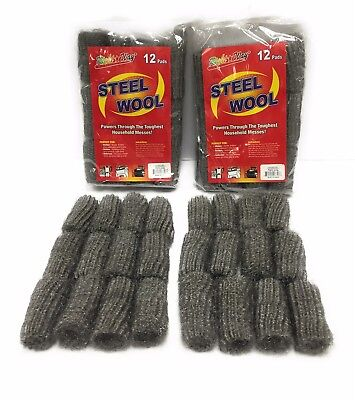 (24 Pads) Kitchen Outdoor Grill Extra Fine Steel Wool FREE SHIPPING