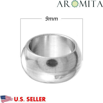 50pcs Stainless Steel Silver Large Hole Spacer Beads Finding 9mm Dia