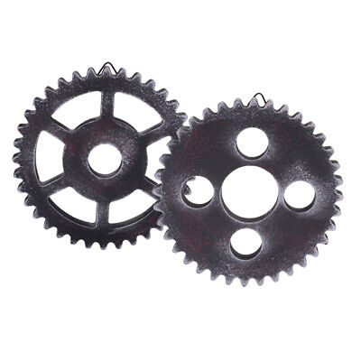 2PCS Retro Wall Hanging Decorative Wooden Gear Home Collectible 12cm Type1