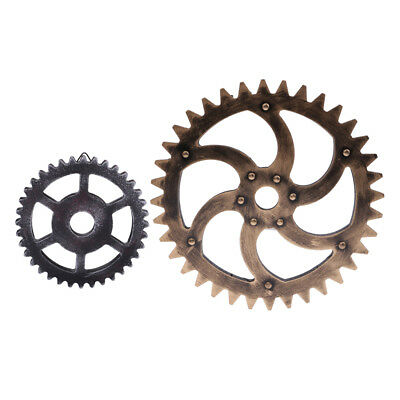 2PCS Wall Hanging Decorative Wooden Gears Home Decor Collectible 29cm 12cm