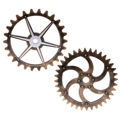 2PCS Retro Wall Hanging Decorative Wooden Gear Home Collectible 29cm Type4