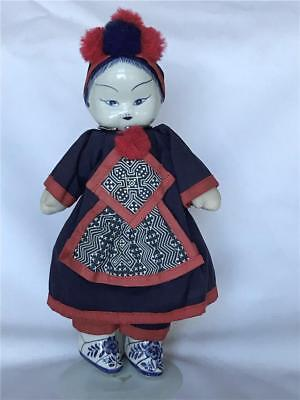 Vintage Blue on White Porcelain Chinese Girl Doll w Braid & Cloth Body