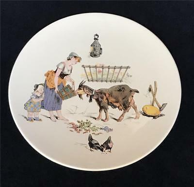 Vintage Sarreguemines France Faience Plate w French Peasant Feeding  Goat