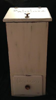 Vintage Shabby Chic Chalky Paint Potato and Onion Storage Bin