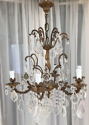 Beautiful Sparkling 6 Arm French Large Heavy Bronze Crystal Rococo Chandelier
