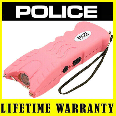 POLICE Pink 916 58 Billion Rechargeable Stun Gun LED Flashlight With Safety Pin