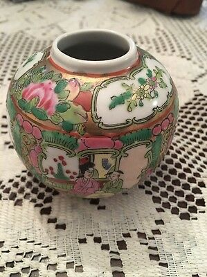 Vintage Asian Vase Urn Hand Painted Small Beautiful & Ornate