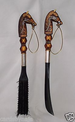 Nice Vintage Horse Head Shoe Horn And Brush Set Good Used Cond. Fast Free Ship!!