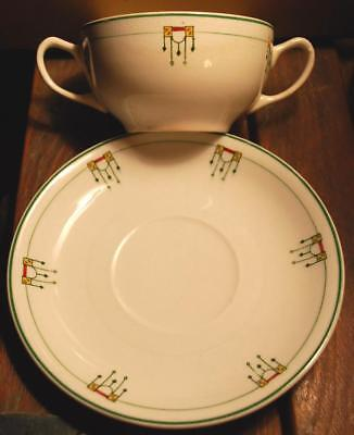 Antique 1914 GRINDLEY OLYMPIC Doubled Handled China BOUILLON/ Soup Cup W Plate